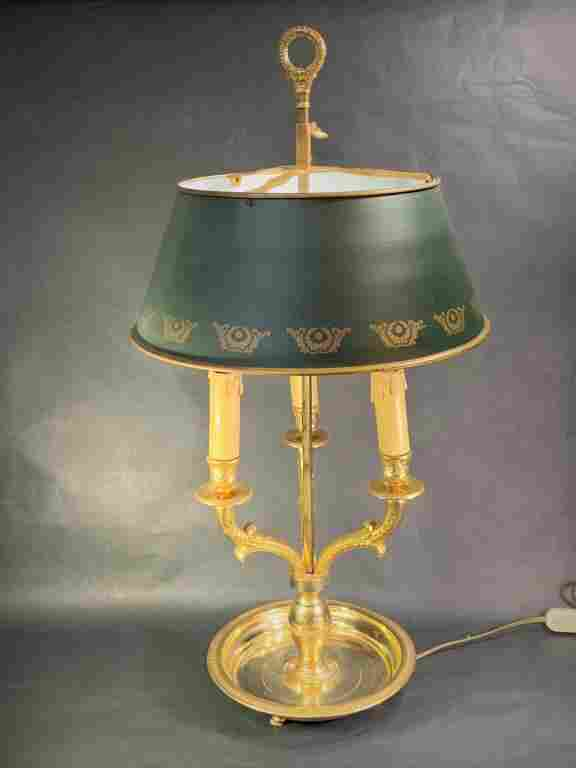 Vintage French Brass Bouillotte Lamp Tole Shade