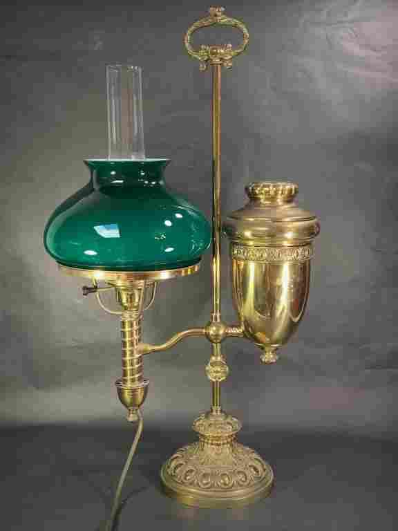 Victorian Brass Student Oil Lamp