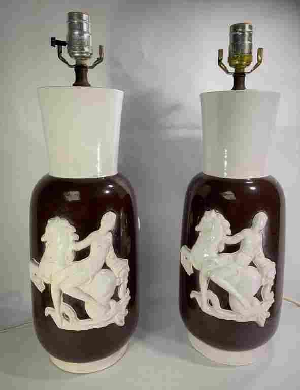 Pair Mid-Century Italian Pottery Lamps