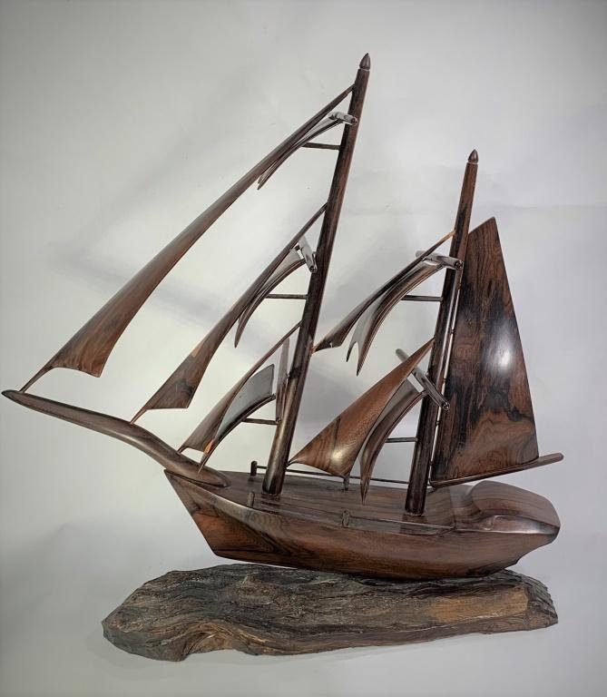 Contemporary Carved Wood Sailing Ship Sculpture