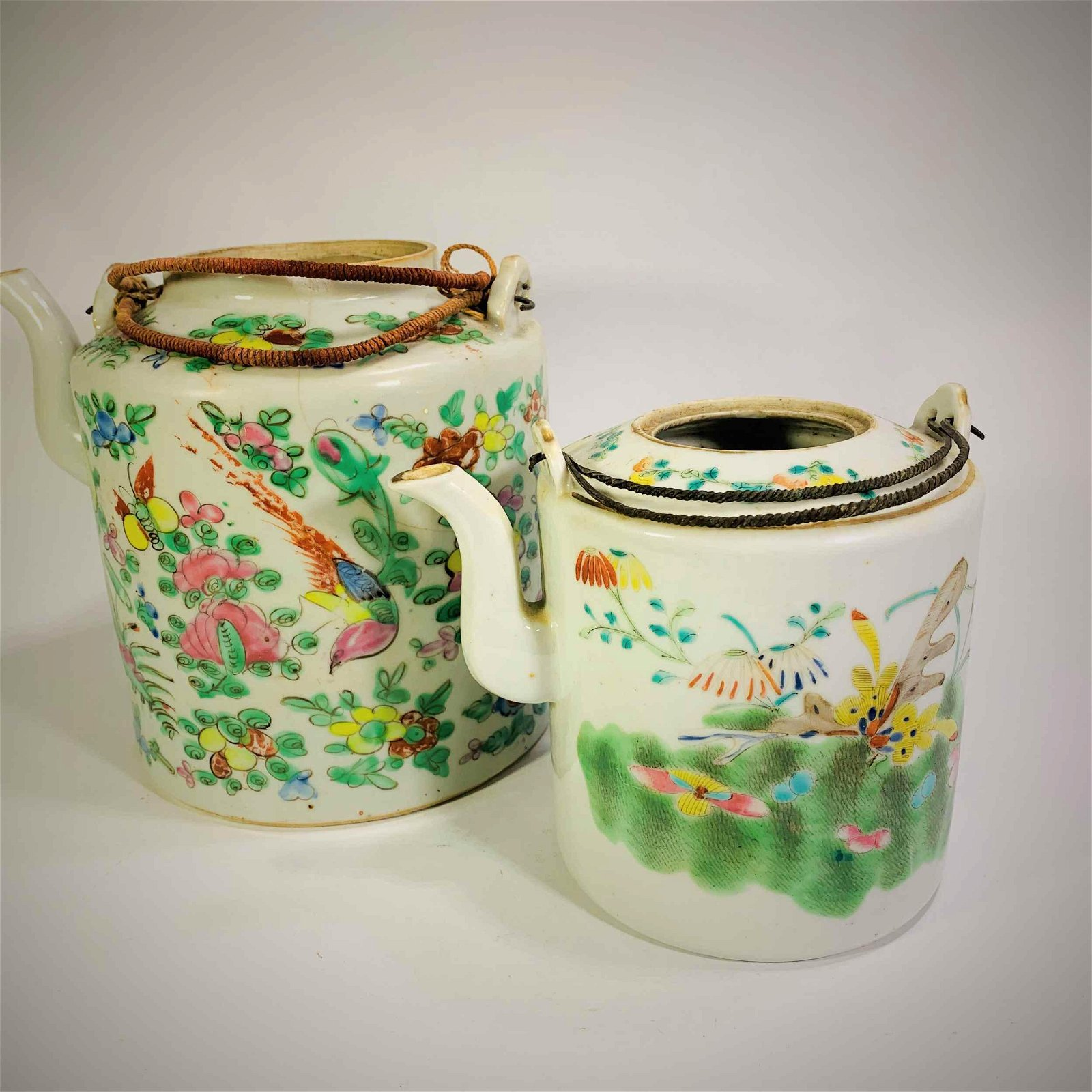 Two 19C Famille Rose Porcelain Chinese Tea Pots