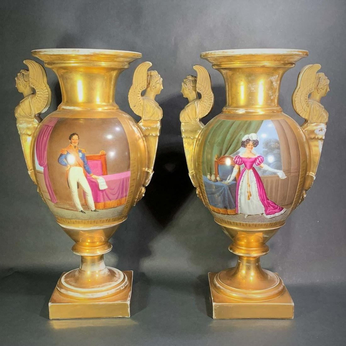 19th C. French Empire Style Urns