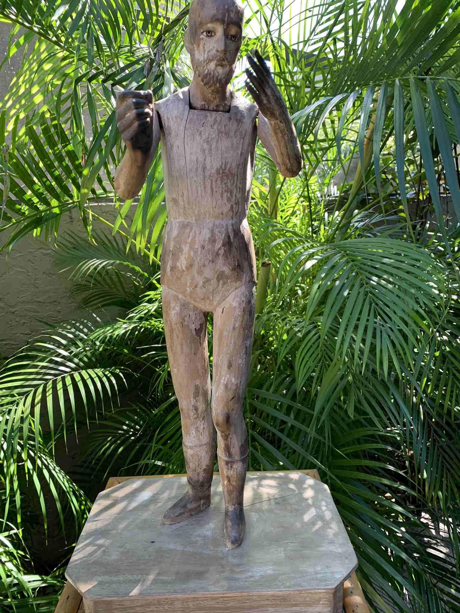 19th C Santos Carved Wood Figurine