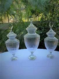 Three 19 C RARE Anglo- Irish Glass Apothecary Jars