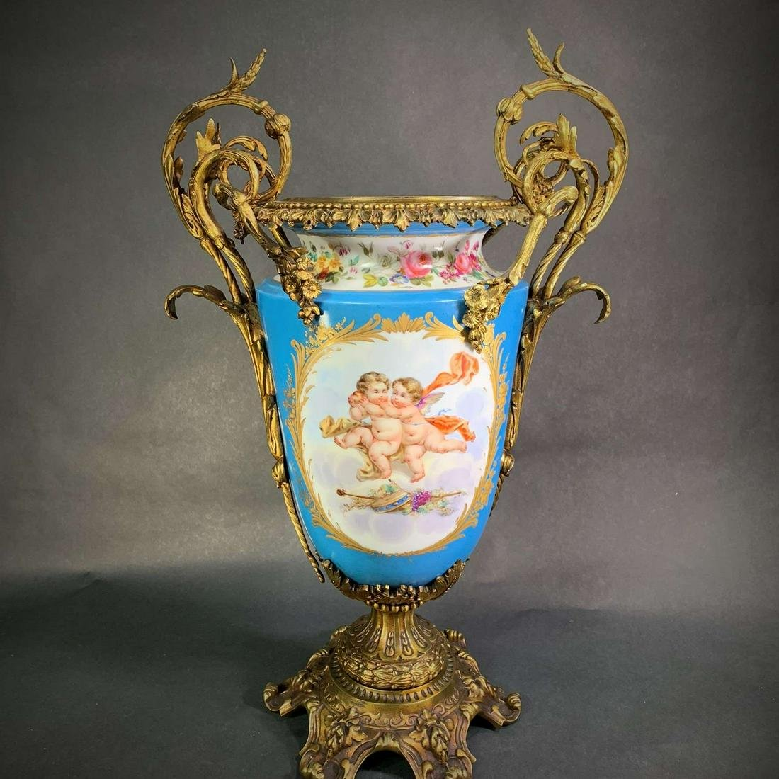 19th C. Sevres Style Bronze Mounted Porcelain Urn