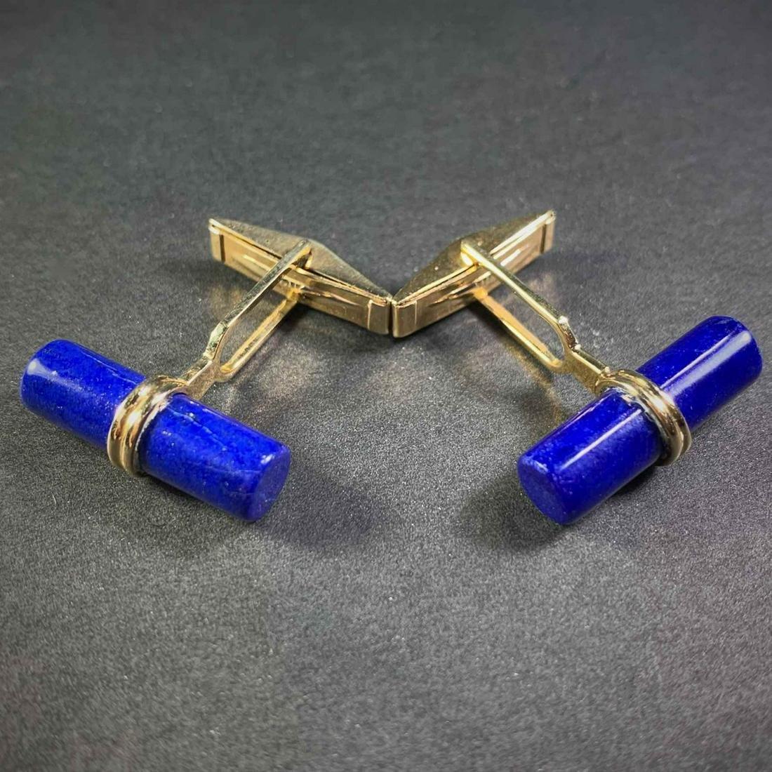 Pair Lapis Lazuli 14K Yellow Gold Cufflinks