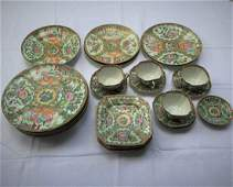 27 Pcs Chinese Rose Medallion Porcelain
