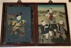 Two Antique Chinese Reverse Painted Panels