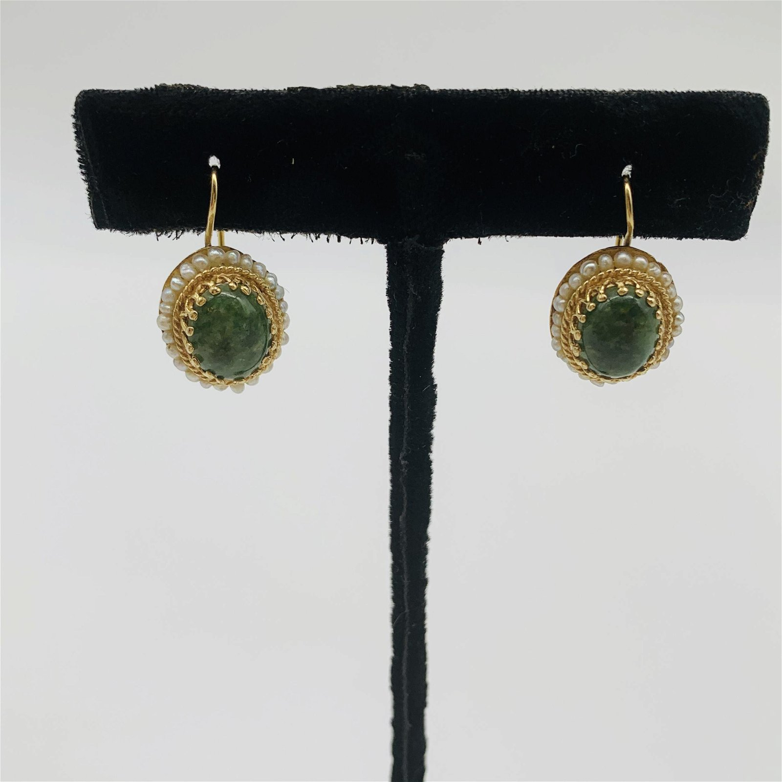 Vintage 14K Gold, Jade and Pearl Earrings