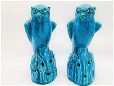 Pair 19th C Chinese Turquoise Glaze Owl Figures.