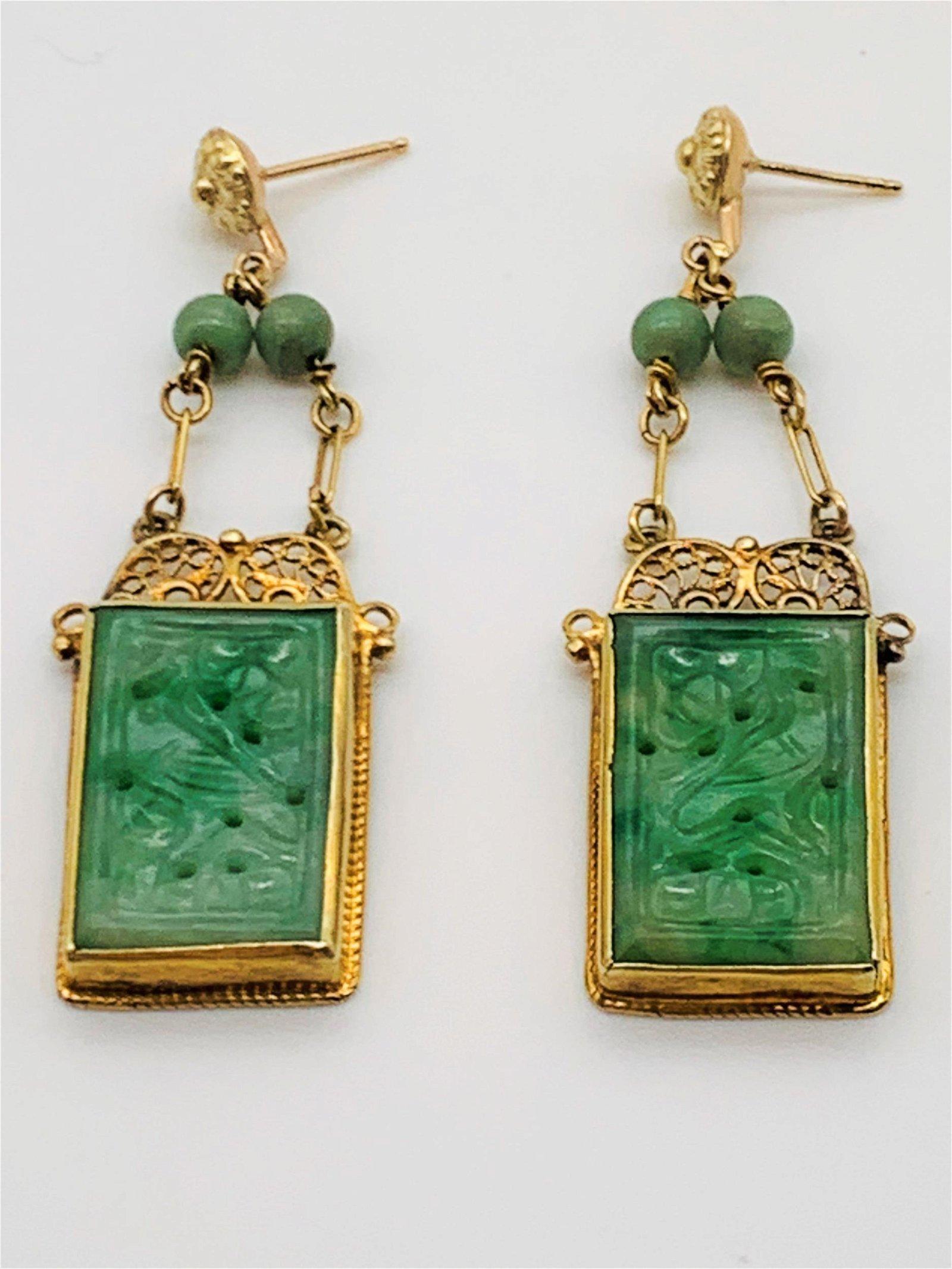 Vintage Carved Jadeite 14K Gold Earrings