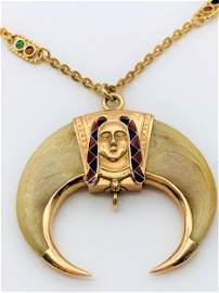 Antique Masonic Shrine Pendant Arabic Order. 18 K