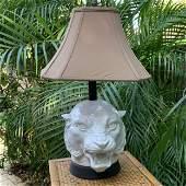 Vintage Italian Glazed Ceramic Tiger Form Lamp with
