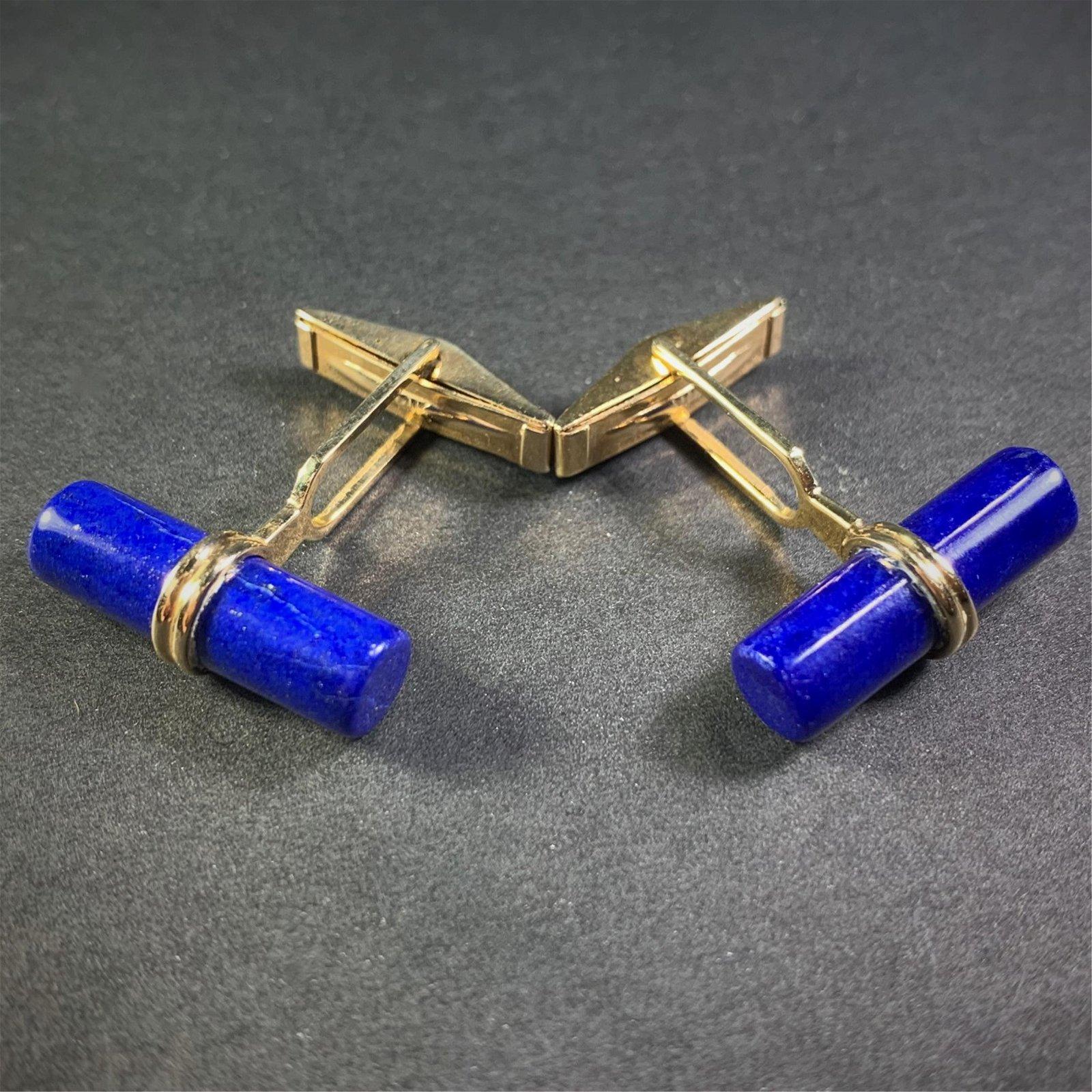 Pair Lapis Lazuli and 14K Yellow Gold Cufflinks. The