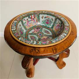 Chinese Famille Rose Basin In Wood Stand