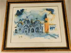 Salvador Dali Color Lithograph Homage To Venice