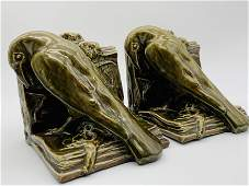 Pr Rookwood Green Glaze Raven Bookends