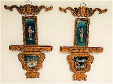 Chinese Carved Wood Reverse Painted Plaques