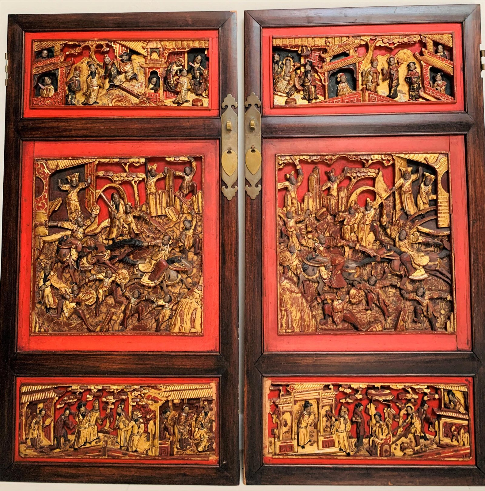 Antique Chinese Carved Lacquered Wood Door Panels