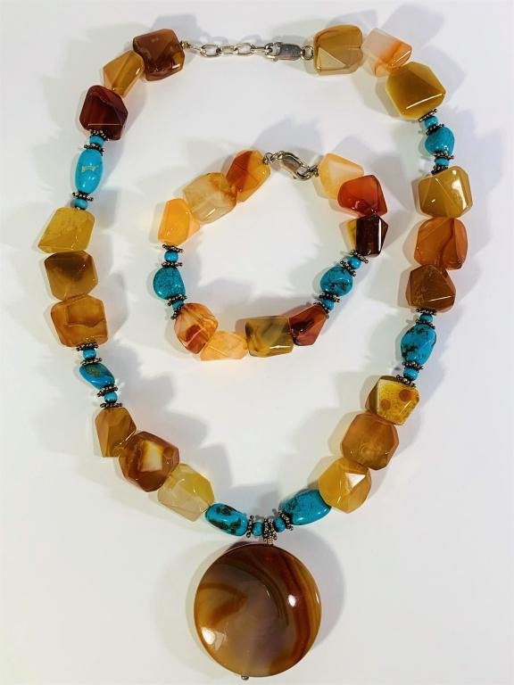 Modern Agate and Turquoise Necklace & Bracelet