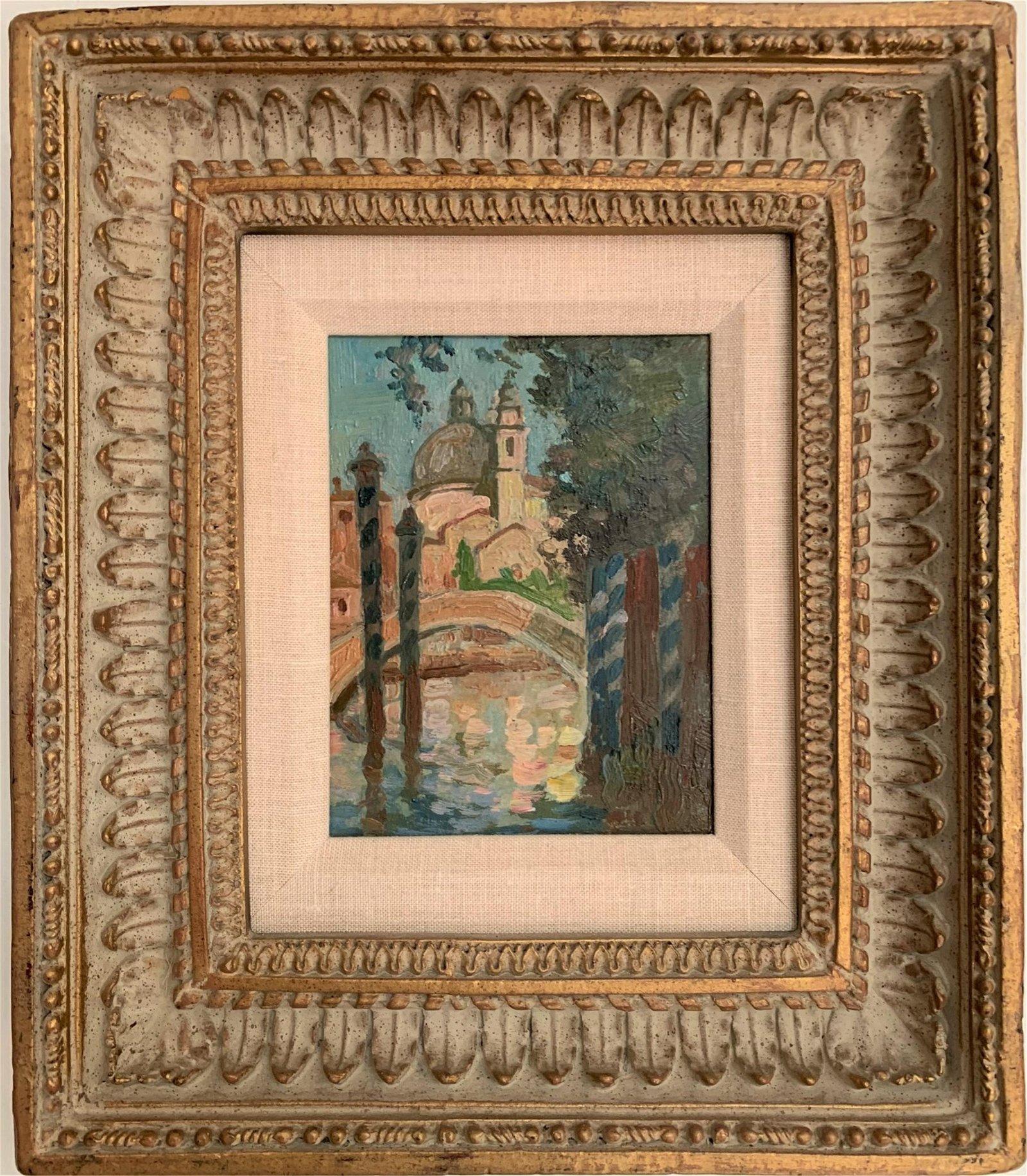 "Jane Peterson (1876-1965) Oil On Board ""Venice"""