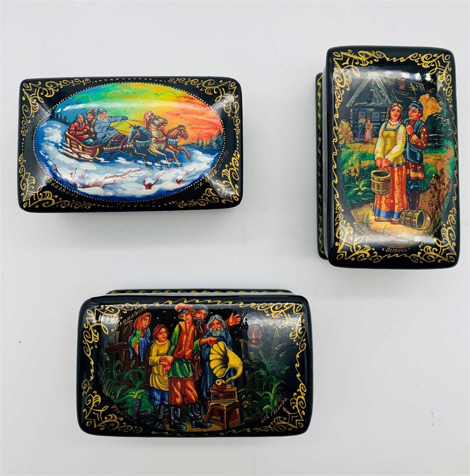 Three Russian Miniature Lacquer Boxes