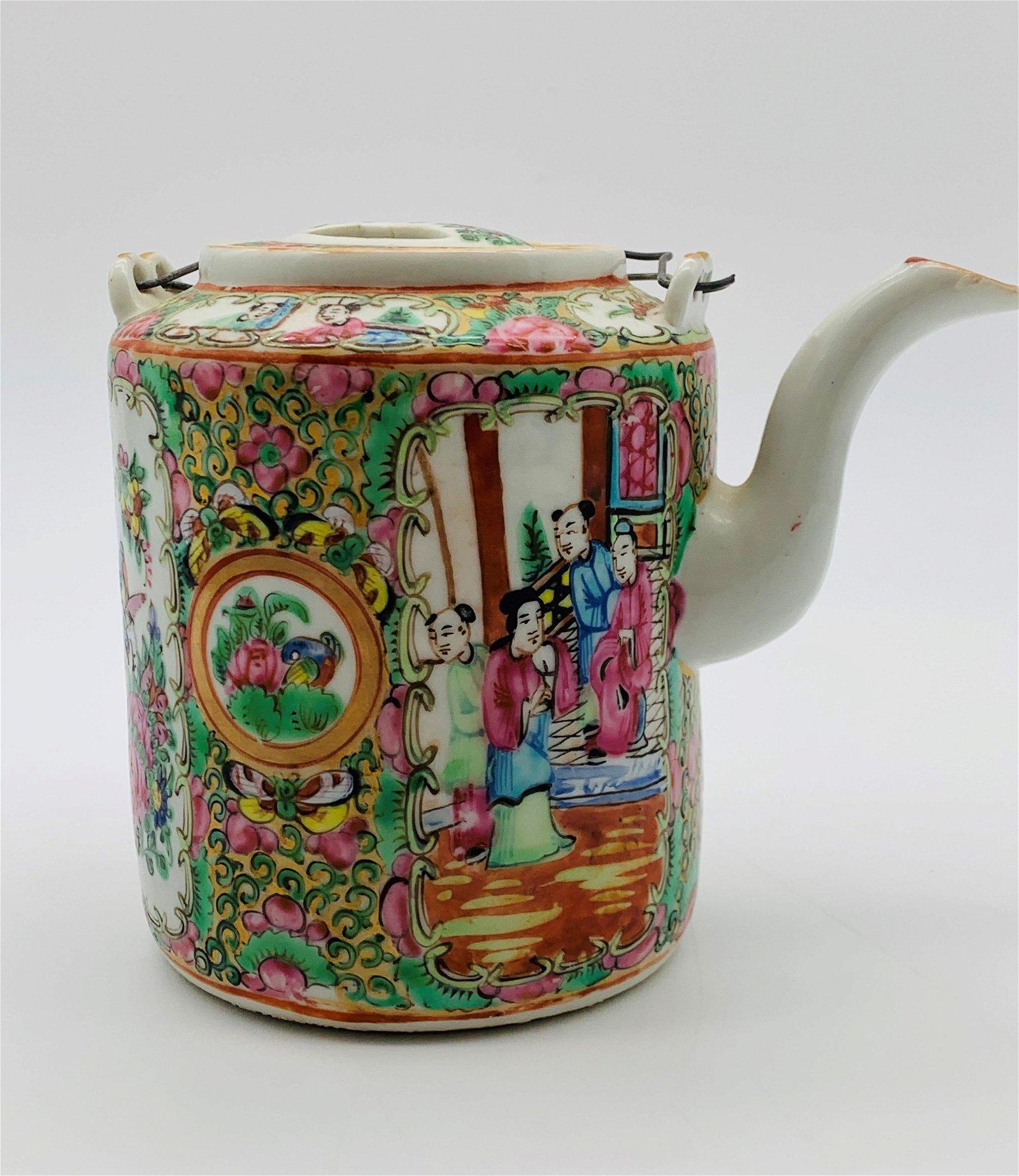 Antique Chinese Porcelain Famille Rose Tea Pot