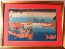 Antique Kuniyoshi Color Japanese Wood Block Print
