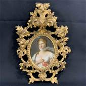 19 C Hand Painted Miniature Portrait On Porcelain