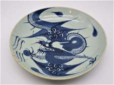 Early Chinese Blue & White Porcelain Dragon Plate
