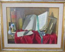 Alfredo Serri (1897 - 1972) Tromp l'Oeil O/C