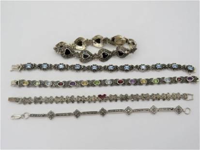 Lot of 5 Vintage Silver and Stone Bracelets