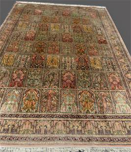 Fine Semi-Antique Silk Kashmier Garden Carpet