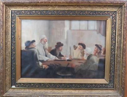 "J Hoffmann Antique Judaica O/C ""Scholars"""