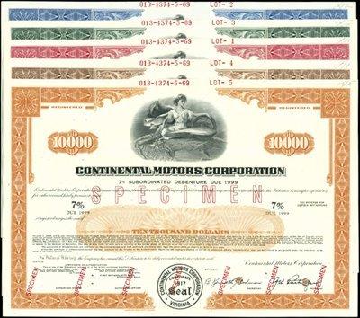 10: Continental Motors Corp. Registered Bonds,