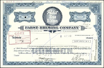 """108: Pabst Brewing Co. """"Pabst Blue Ribbon"""" Stock Certif"""