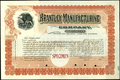 916: Alabama Group of Stock Certificates,