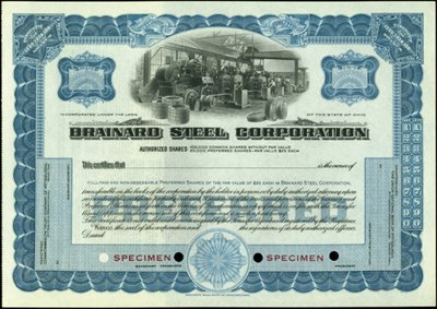 921: Brainard Steel Corp. Stock Certificates,