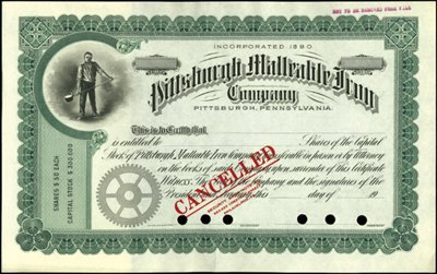923: Pittsburgh Malleable Iron Company Stock Specimen,