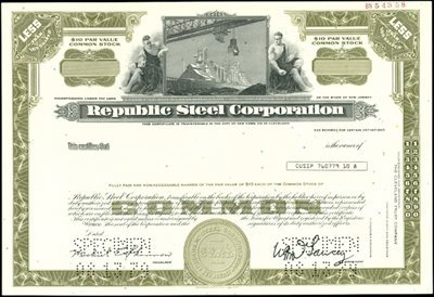 924: Republic Steel Corporation Specimen & Proof Bonds