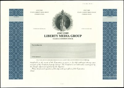 927: AT&T Corp. Liberty Media Group Proof Stock Certifi