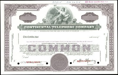 928: Continental Telephone Company Stocks and Bonds