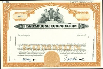 929: Dictaphone Corporation Stock Certificate Group
