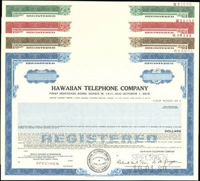 931: Hawaiian Telephone Company Bond Specimen (9)