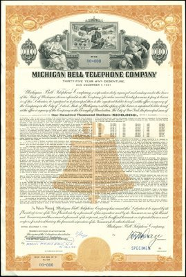 934: Michigan Bell Telephone Company Bond Specimens (4)