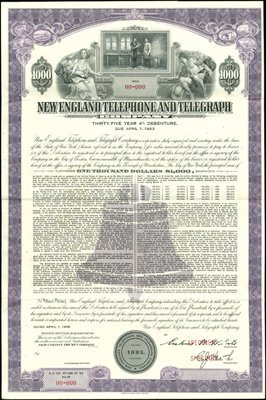 936: New England Telephone and Telegraph Bond Specimens