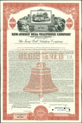 937: New Jersey Bell Telephone Company Bond Specimens (
