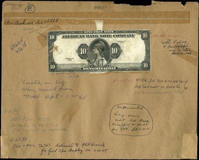 1864: U.S. ABN Specimen Sample Note Proof On Archival F