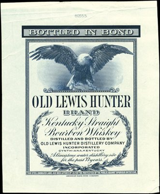 1883: Cynthiana, KY. Old Lewis Hunter Brand Kentucky Wh
