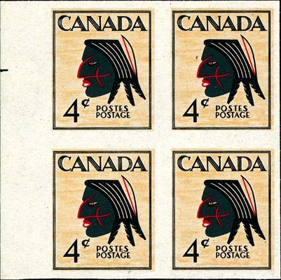 12: Canada 4c Native Indian Multicolored Essay.